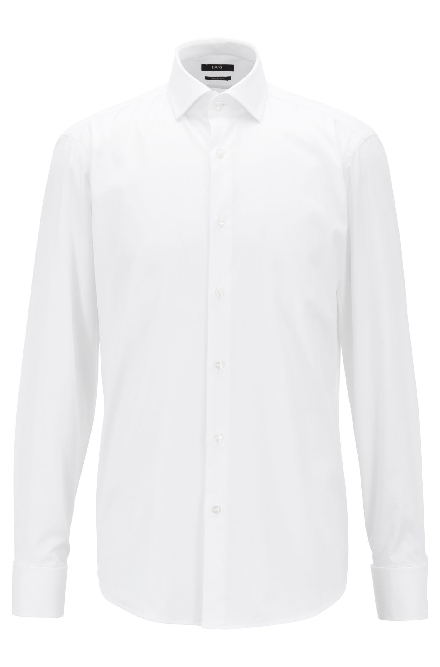Regular-fit cotton shirt with Kent collar by BOSS Menswear, White