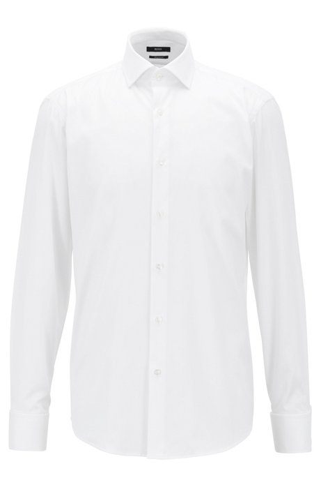 Regular-fit shirt in pure cotton with double cuffs, White