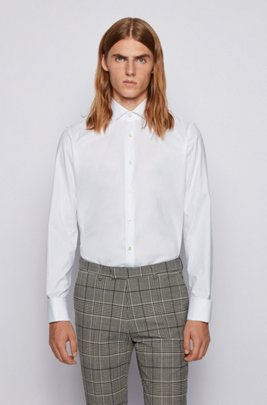 Regular-fit shirt in cotton with double cuffs, White