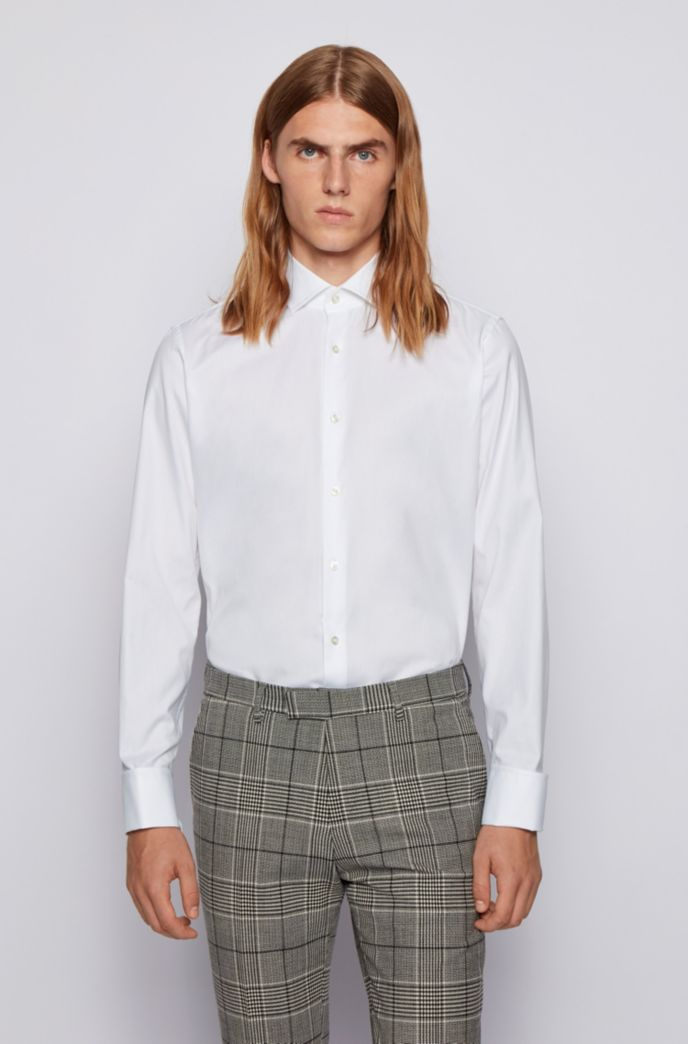 Regular-fit shirt in cotton with double cuffs