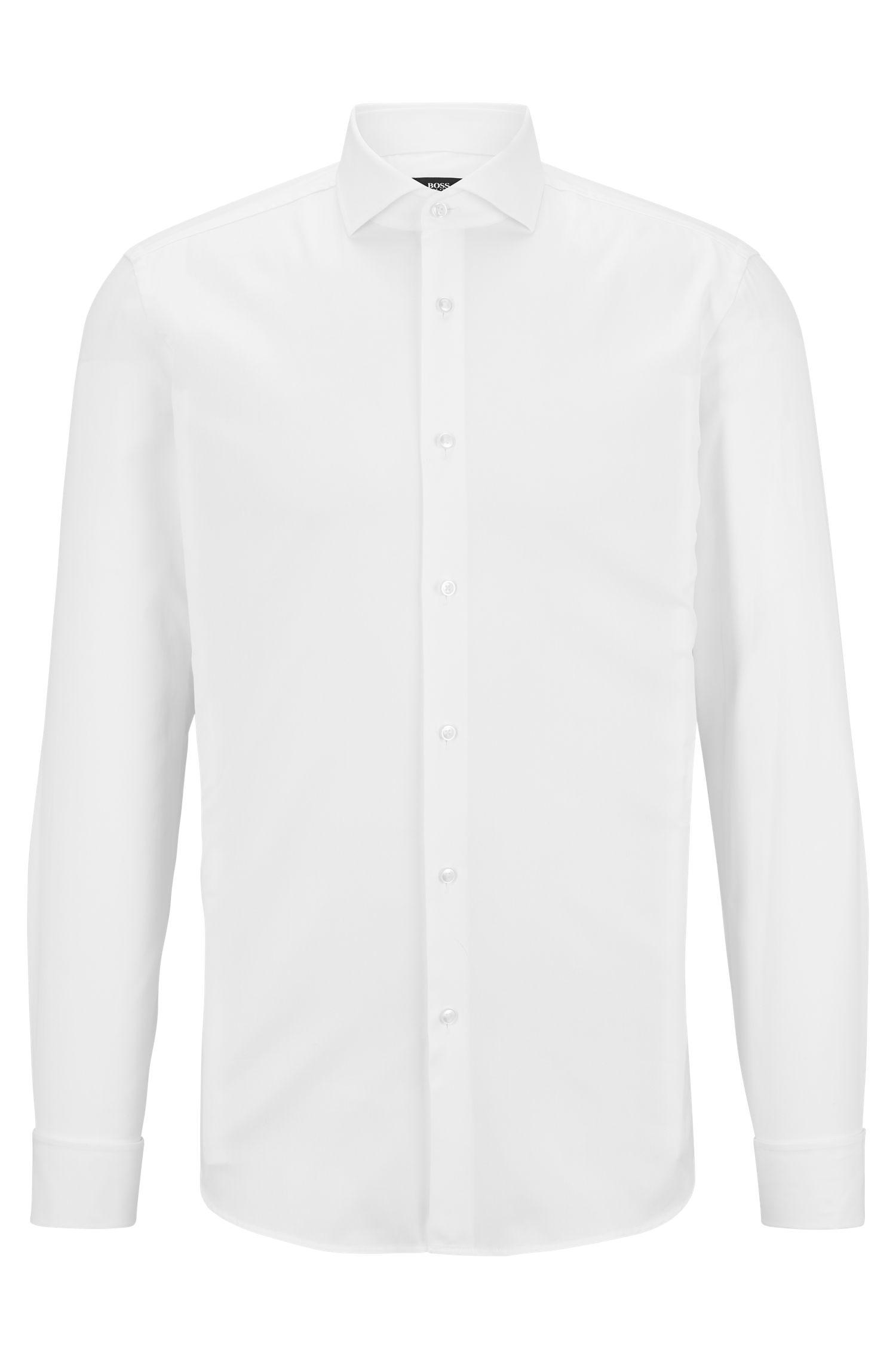 Slim-Fit Hemd aus reiner Baumwolle, Weiß