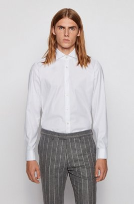 Double-cuff slim-fit shirt in cotton, White