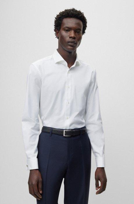Camisa slim fit de algodón con puños dobles, Blanco