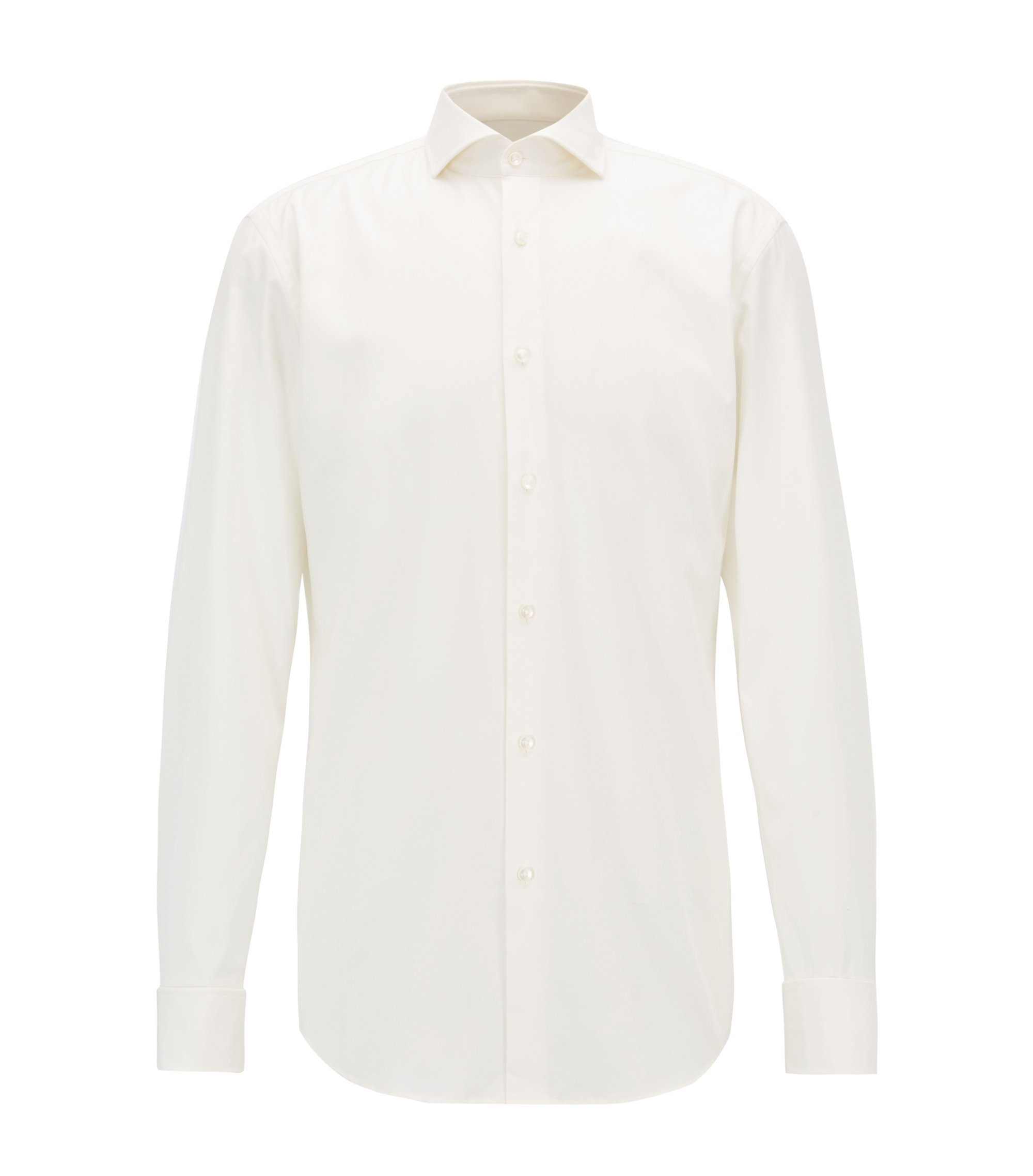 Slim-fit shirt in pure cotton, Natural