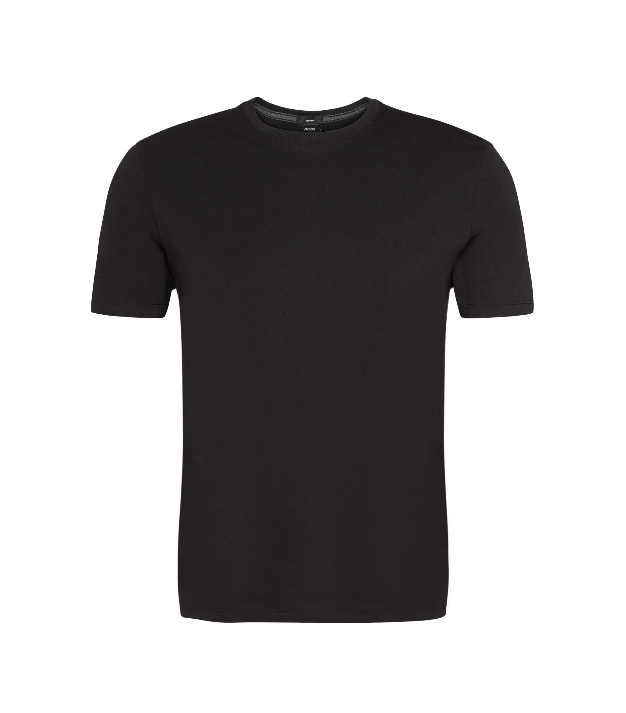 Slim-fit t-shirt in cotton: 'Tessler 09', Black