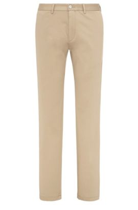 Pantalon Regular Fit en coton extensible : « C-Crigan2-15-W », Beige clair