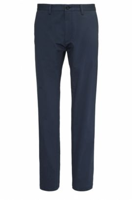 Pantalon Regular Fit en coton extensible : « C-Crigan2-15-W », Bleu foncé