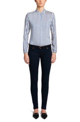 Extra slim-fit jeans van een katoenmix: 'Georgina', Donkerblauw
