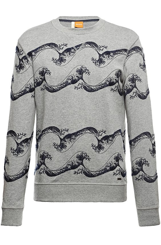 Sweatshirt with wave embroidery: 'Weatherbee-H', Light Grey