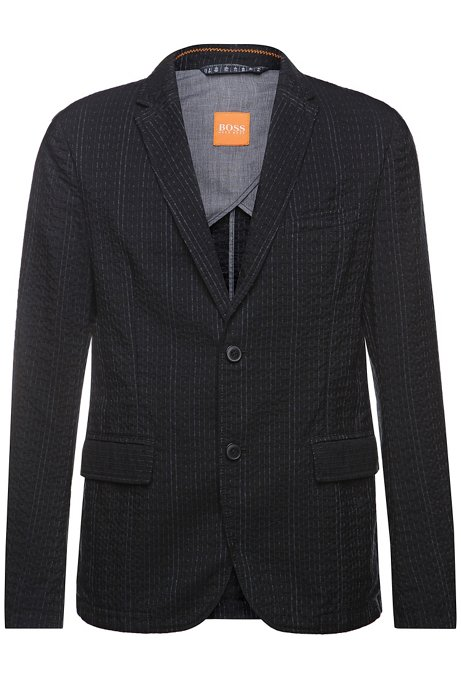 Jacket with linear texture: 'Bentex-D', Black