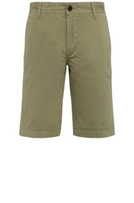 Regular-fit cotton shorts: 'Schino-Regular-Short', Dark Green