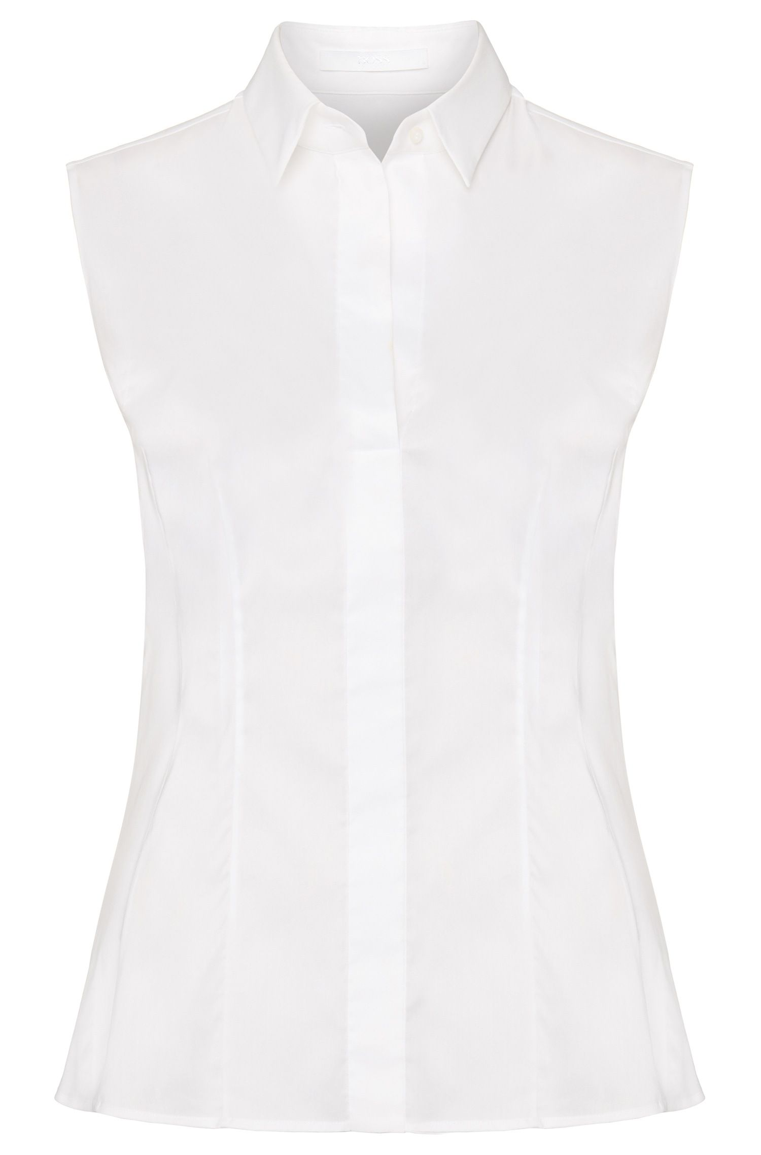 Slim-fit sleeveless blouse in a cotton blend, White