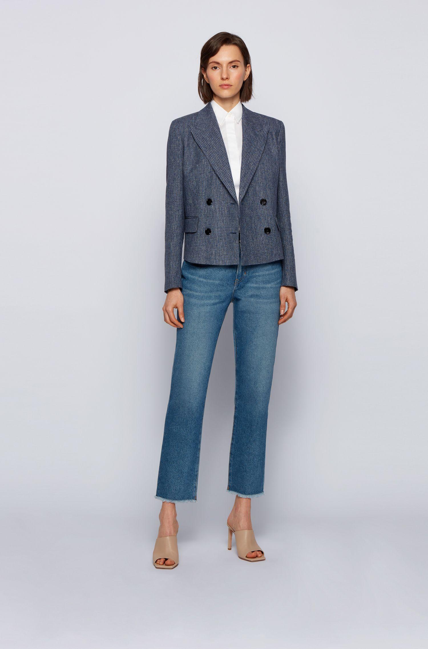 Ärmellose Slim-Fit Bluse aus Baumwoll-Mix, Weiß