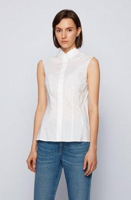 Mouwloze slim-fit blouse van een katoenmix, Wit
