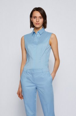 Slim-fit sleeveless blouse in a cotton blend, Light Blue