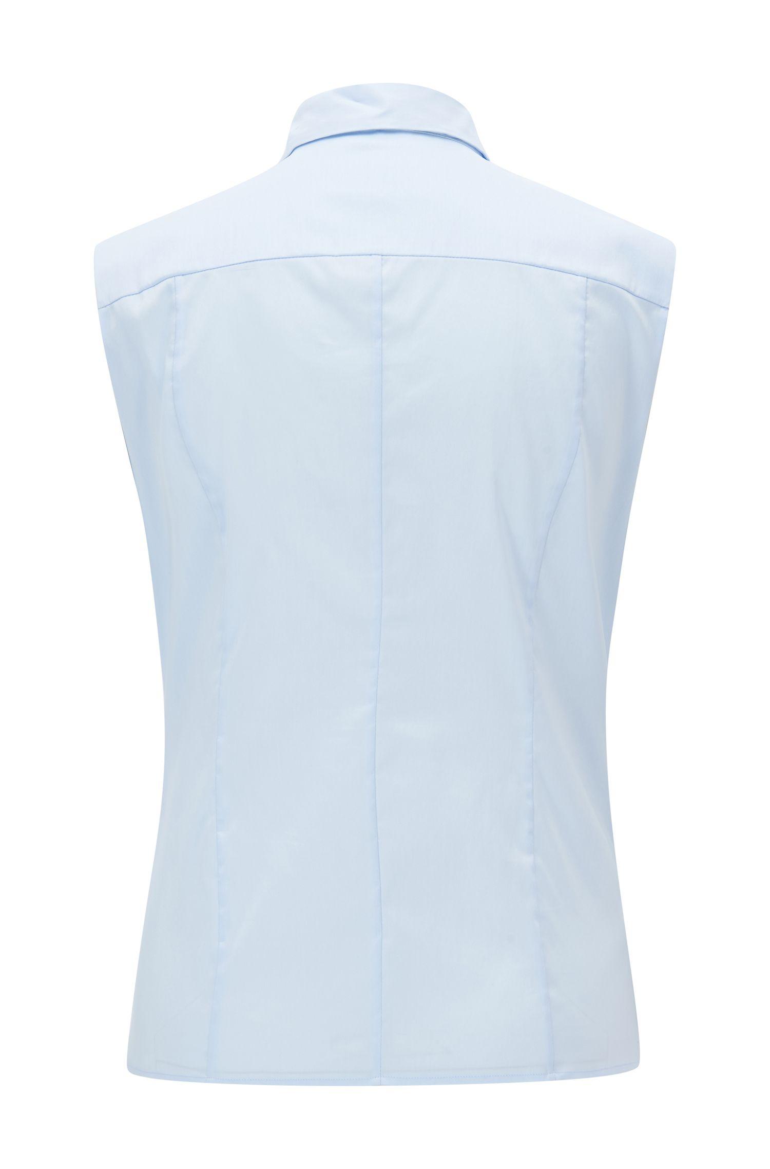 Mouwloze slim-fit blouse van een katoenmix
