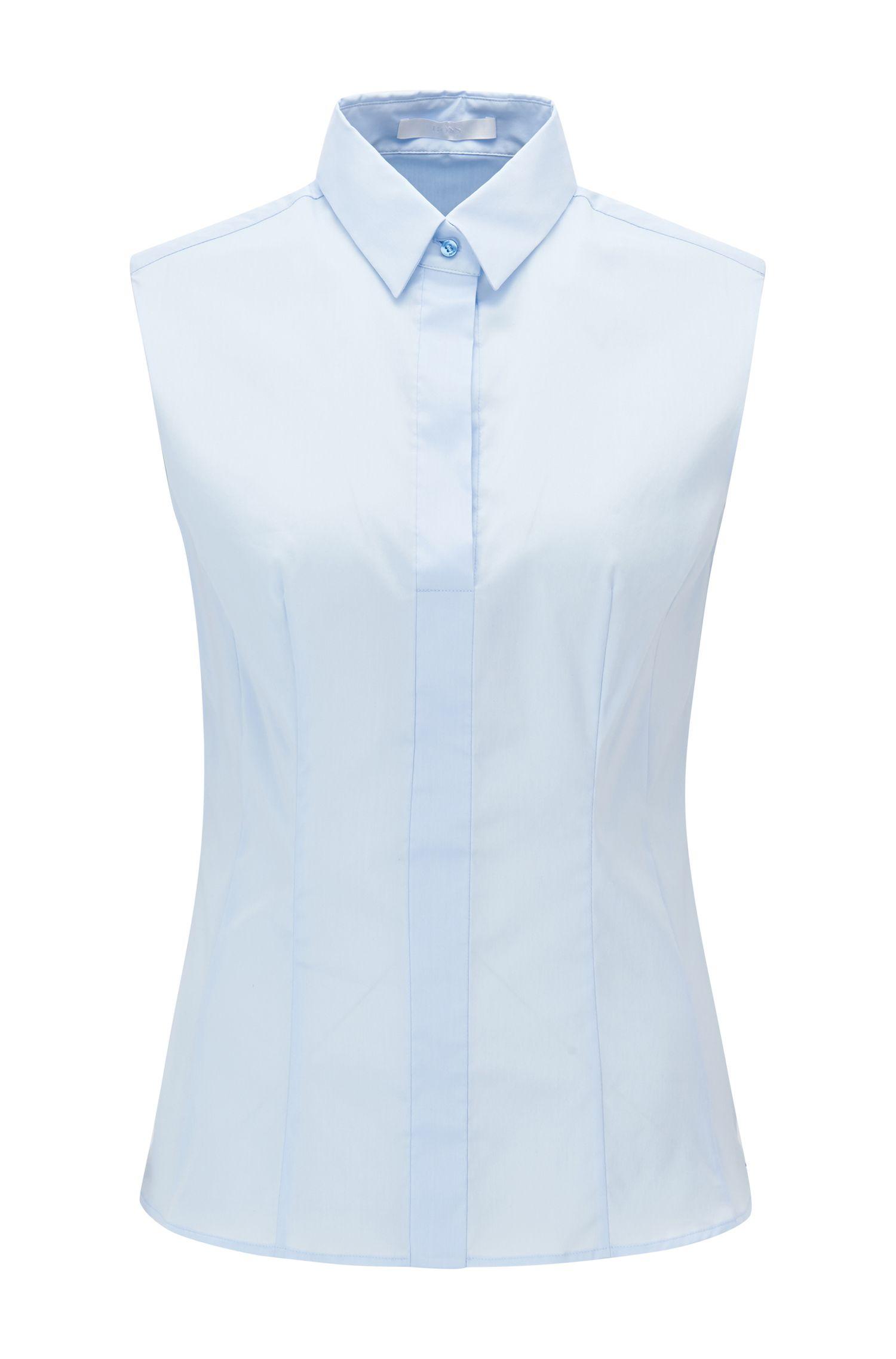 Ärmellose Slim-Fit Bluse aus Baumwoll-Mix