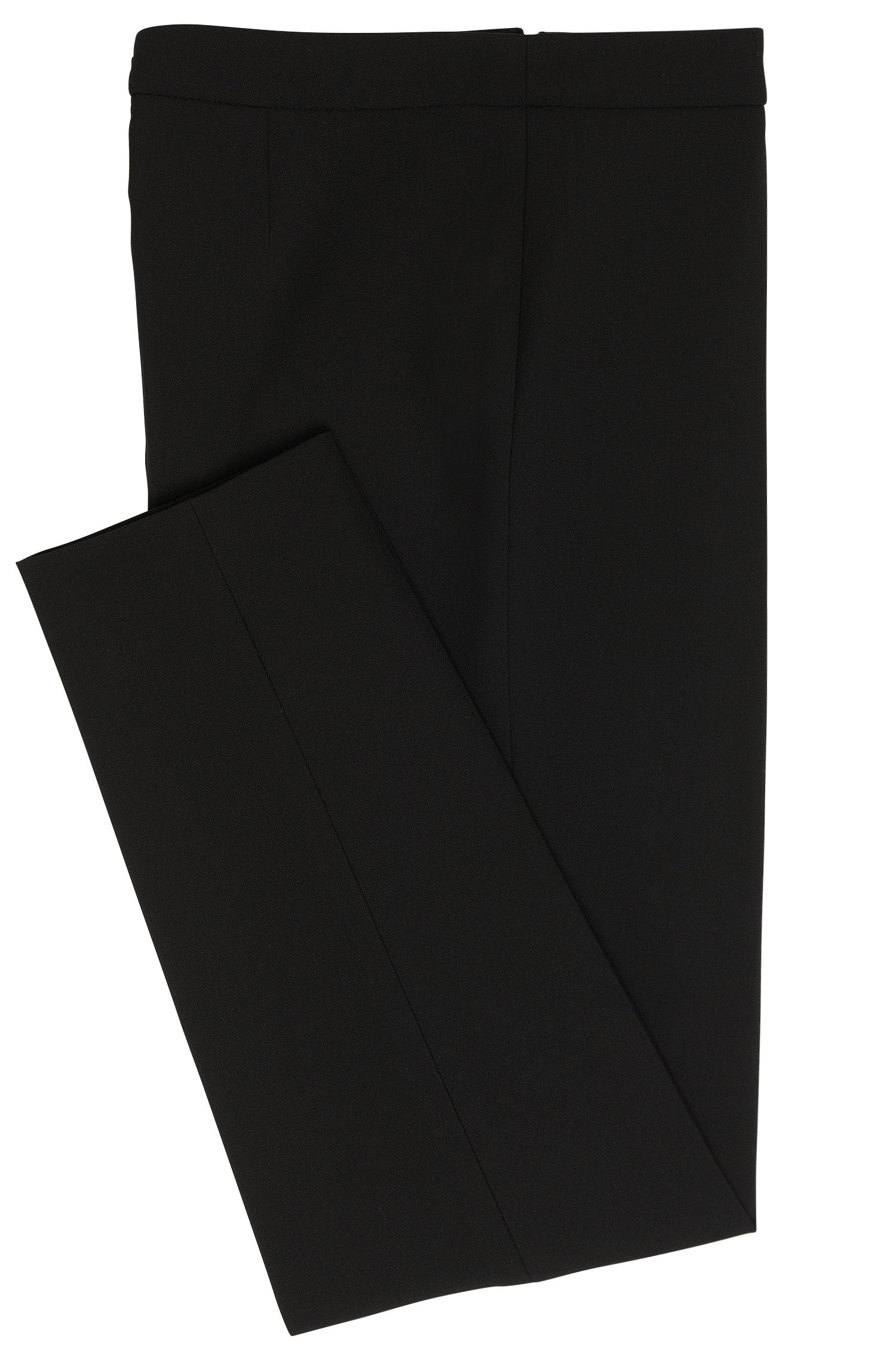 Pantaloni regular fit in tessuto elastico, Nero