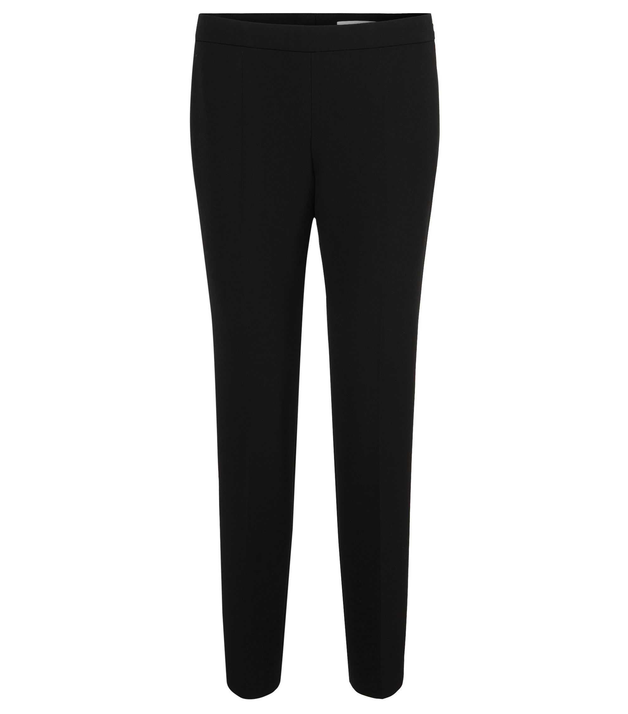 Pantalon Regular Fit en tissu stretch, Noir