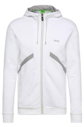 Kapuzen-Sweatshirt-Jacke aus Baumwolle ´Saggy 1`, Weiß