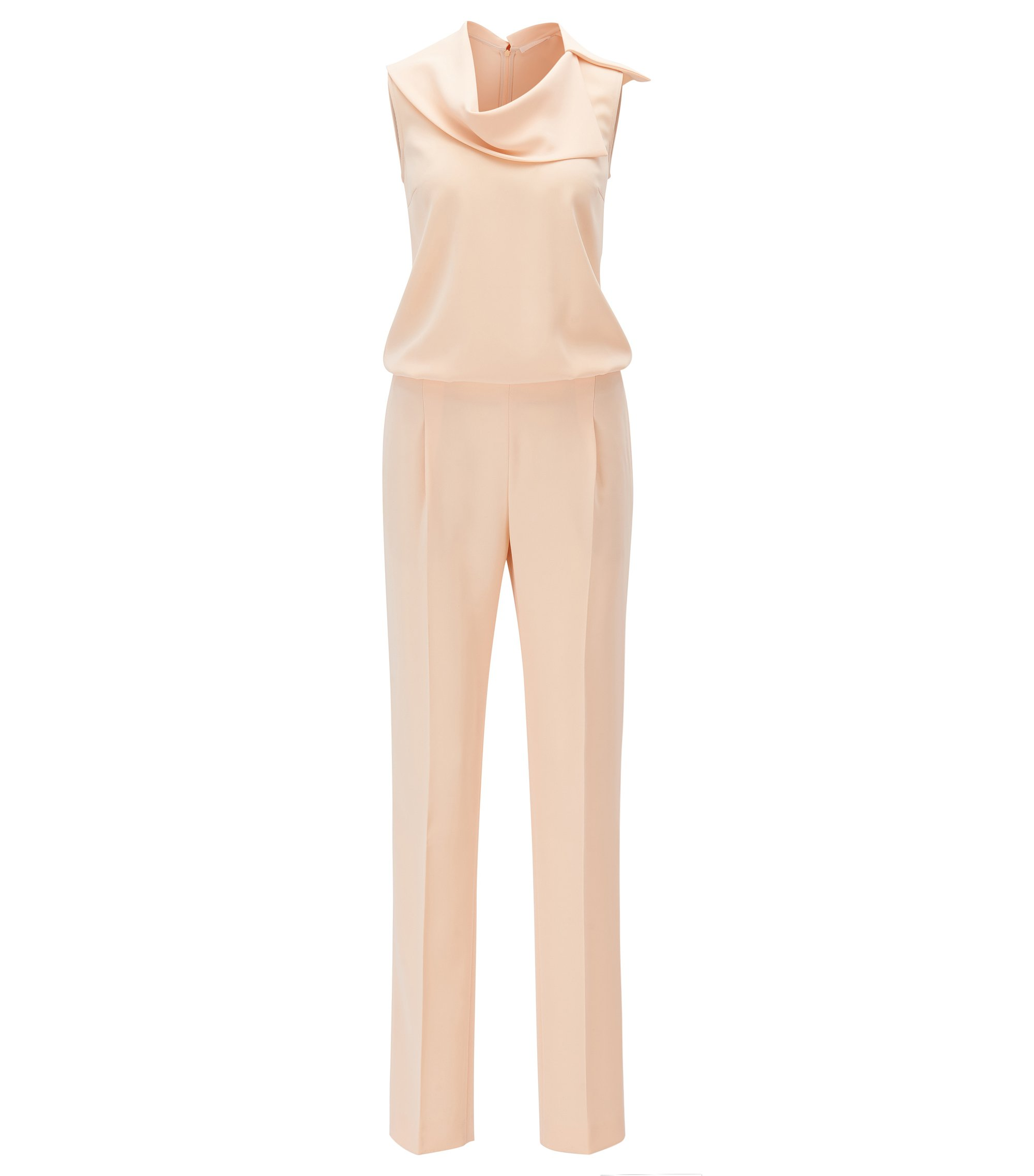 Sleeveless jumpsuit with asymmetric neckline, Beige