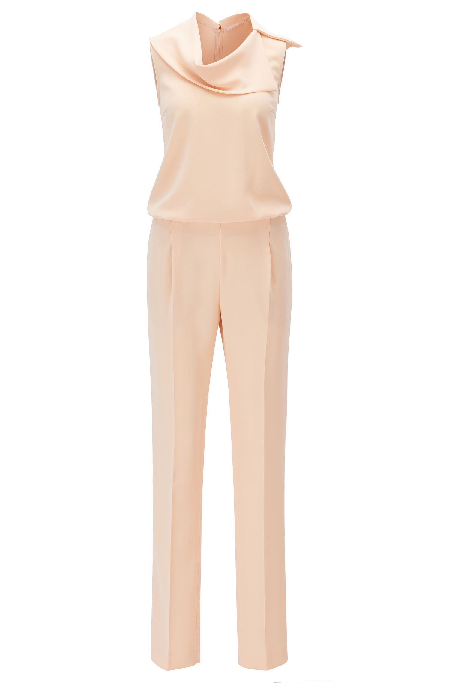 Sleeveless jumpsuit with asymmetric neckline