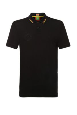 Golf polo shirt in cotton blend: 'Paule Flag', Black
