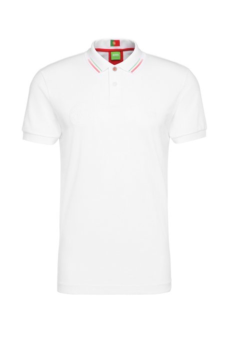 Golf polo shirt in cotton blend: 'Paule Flag', Natural