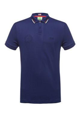 Polo de golf en mezcla de algodón: 'Paule Flag', Azul oscuro