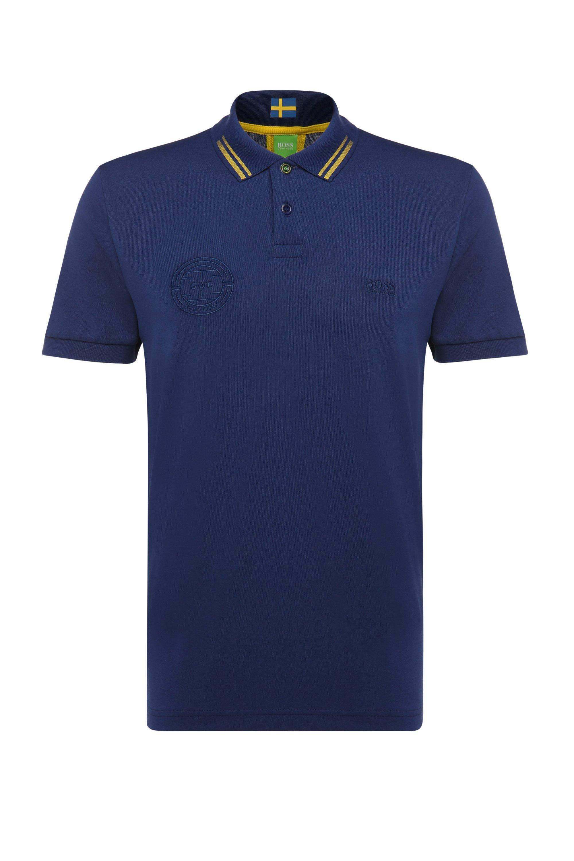 Polo de golf en coton mélangé: «Paule Flag», Bleu foncé