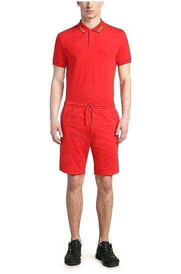 Golf polo shirt in cotton blend: 'Paule Flag', Dark Red