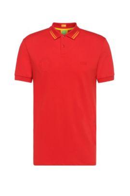 Polo de golf en coton mélangé: «Paule Flag», Rouge sombre