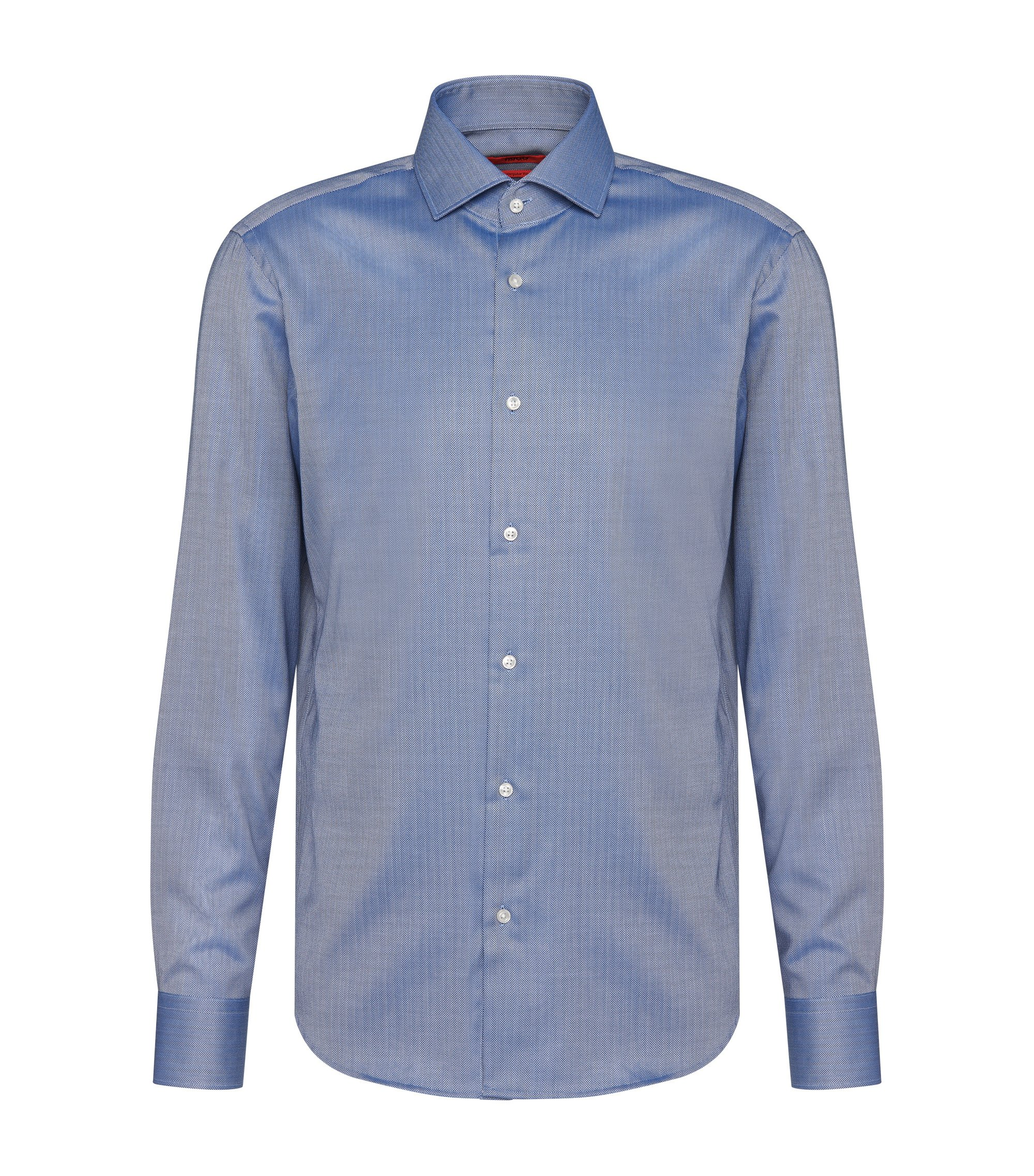 Regular-fit cotton shirt with herringbone pattern: 'C-Gordon', Blue