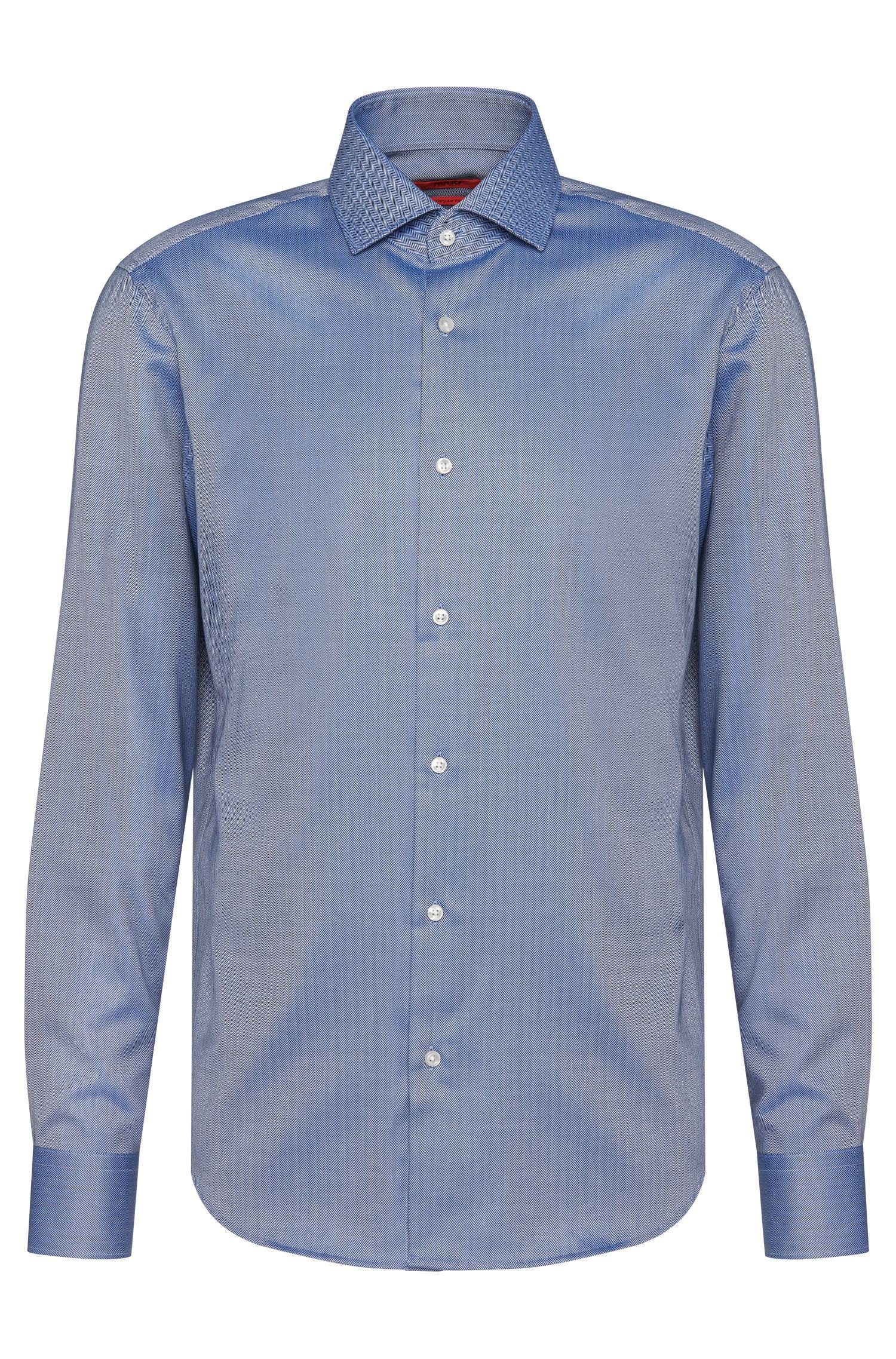 Regular-fit overhemd van katoen met visgraatpatroon: 'C-Gordon'