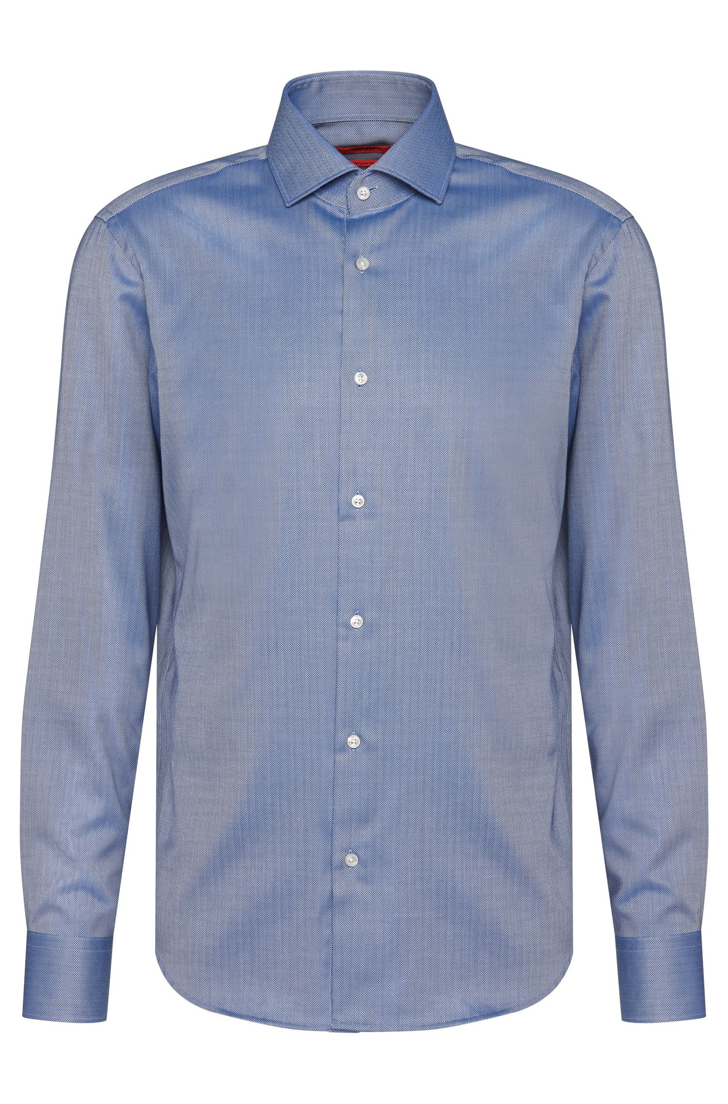 Regular-fit cotton shirt with herringbone pattern: 'C-Gordon'