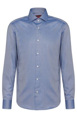 Camisa regular fit en algodón con estampado de espina: 'C-Gordon', Azul