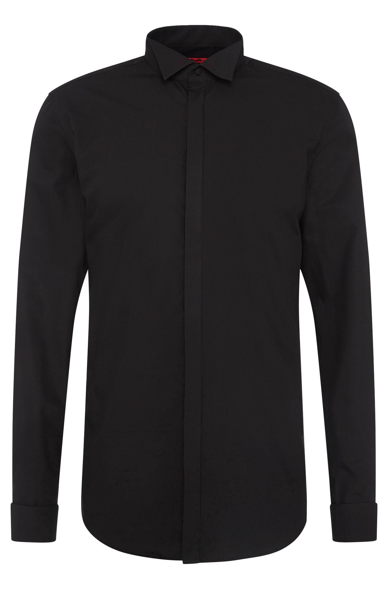 Slim-fit smokingoverhemd van gemakkelijk te strijken katoen met verdekte knoopsluiting: 'C-Egon'