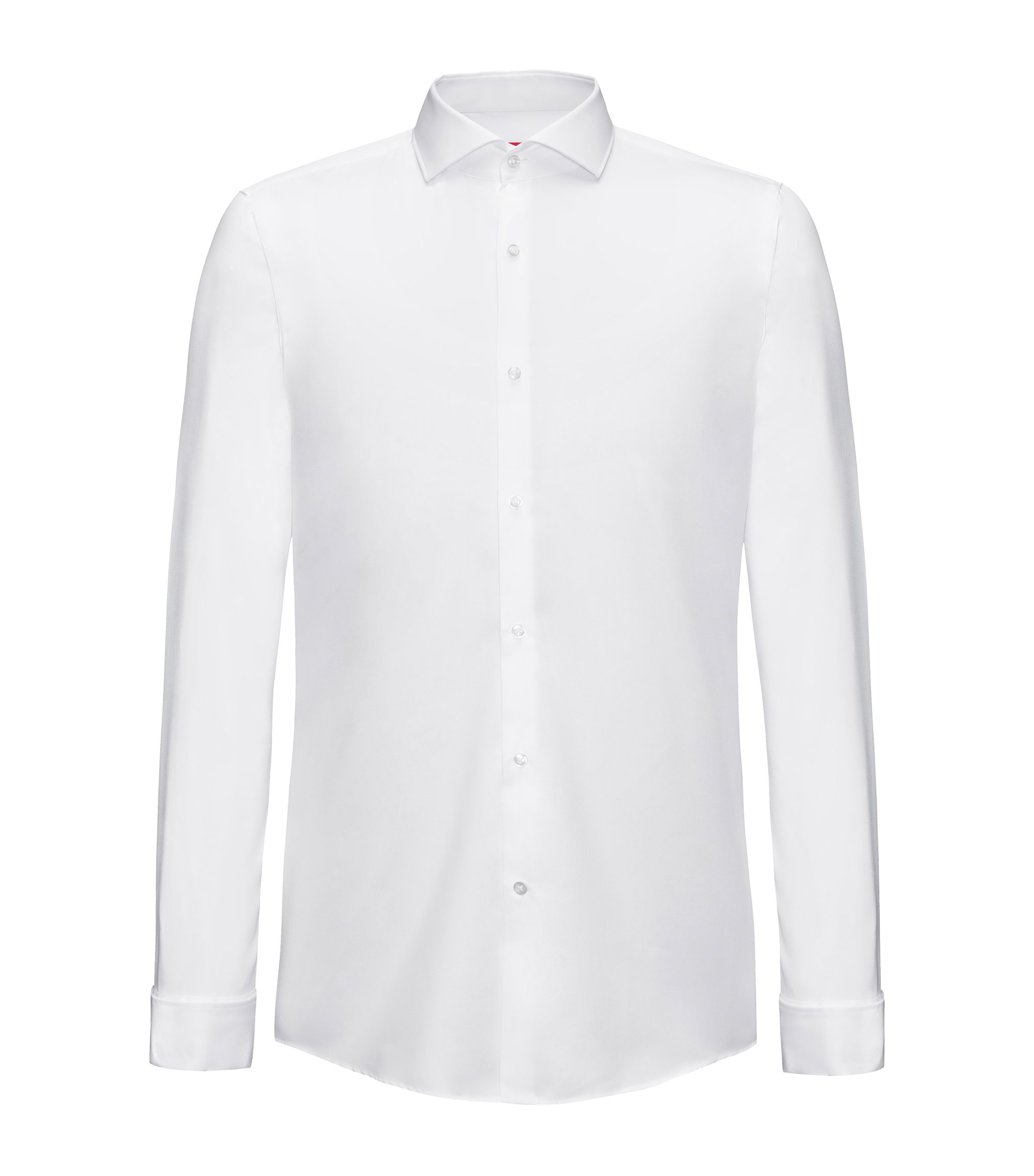 Cotton evening shirt in a slim fit, White