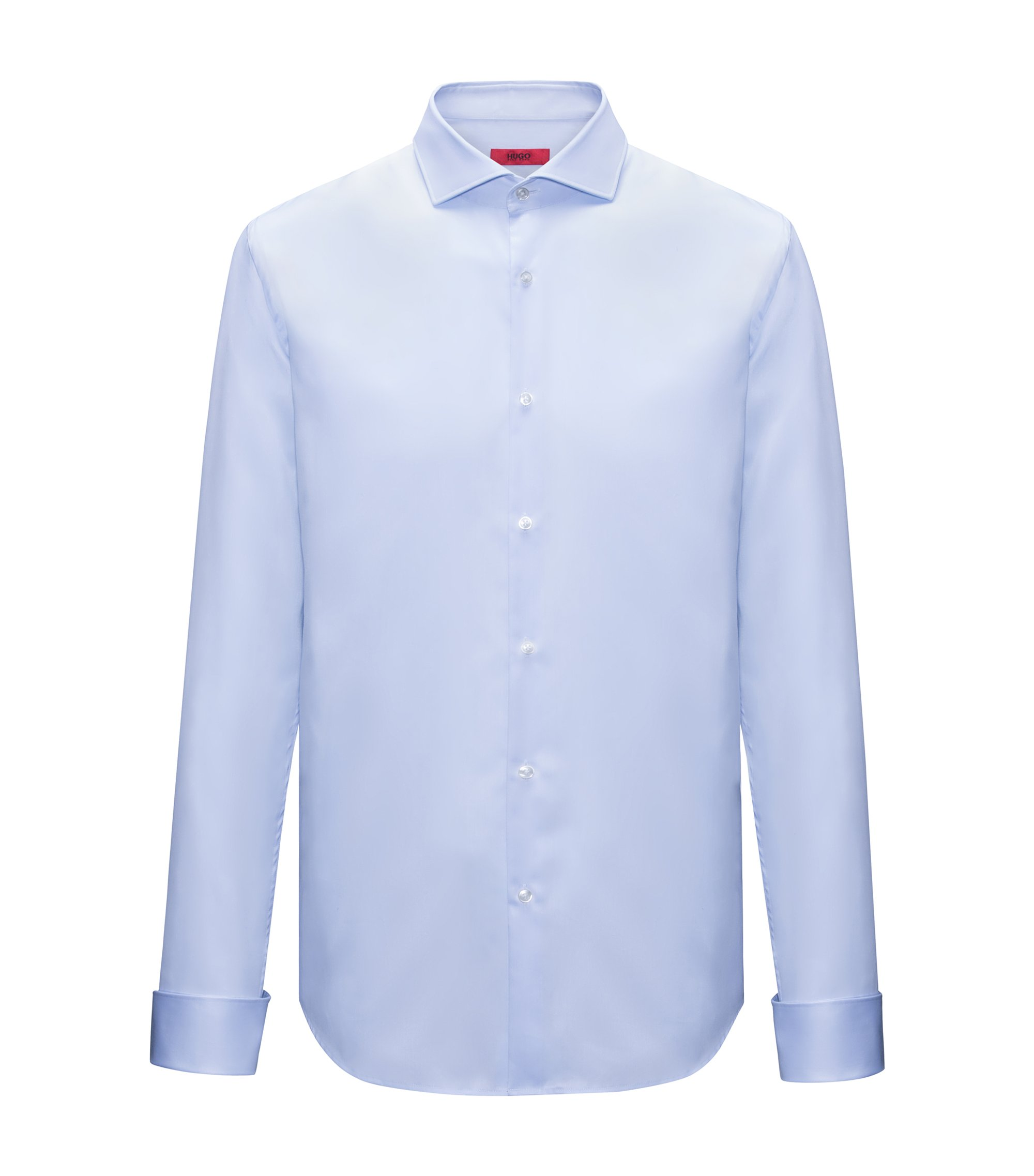 Cotton evening shirt in a slim fit, Light Blue