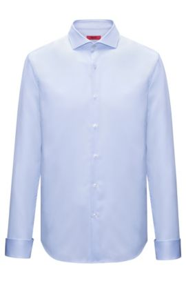 Cotton evening shirt in a slim fit, Light Blue
