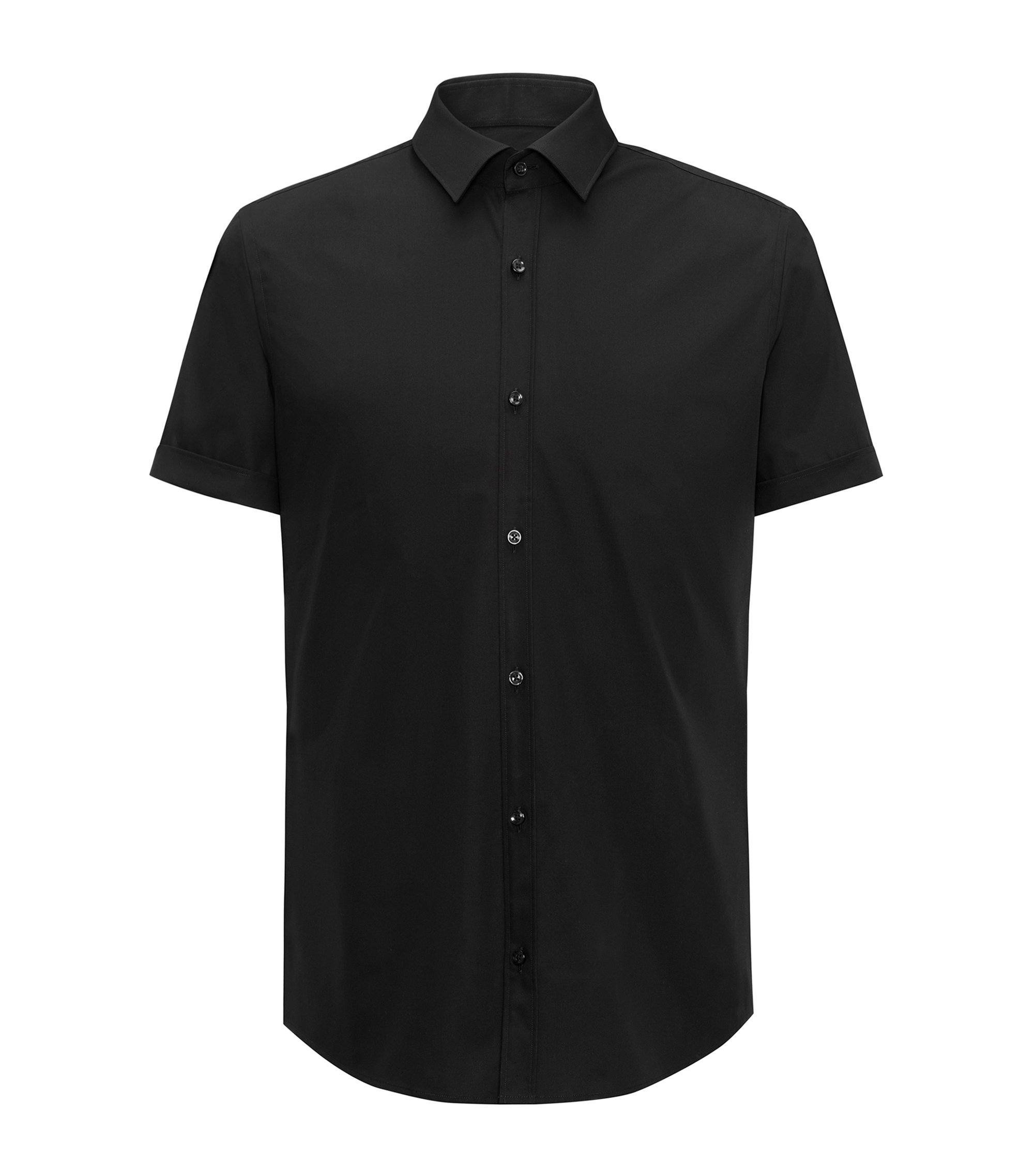 Slim-fit short-sleeved shirt in cotton poplin, Black