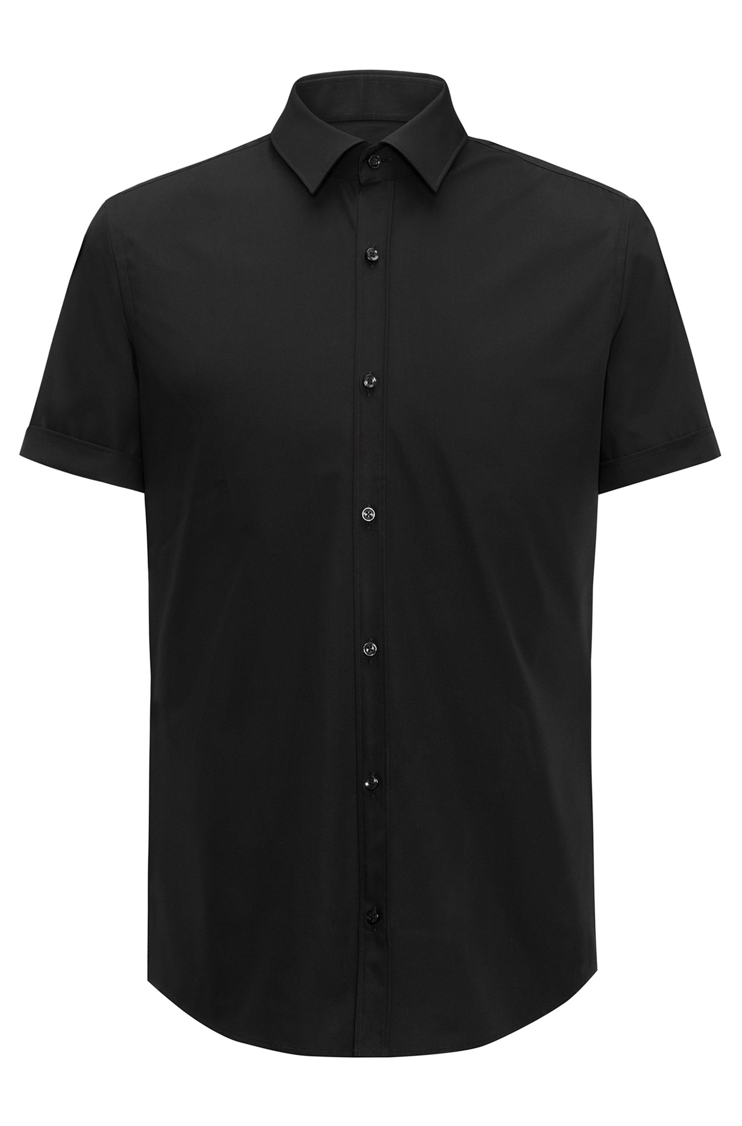 Slim-fit short-sleeved shirt in cotton poplin