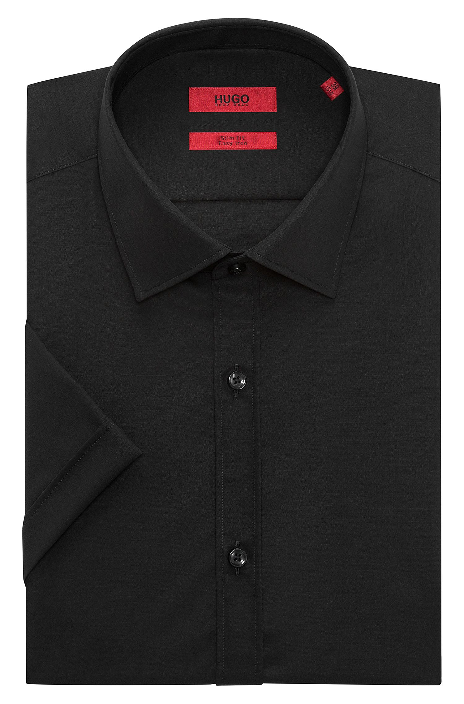 Camisa de manga corta slim fit en popelín de algodón