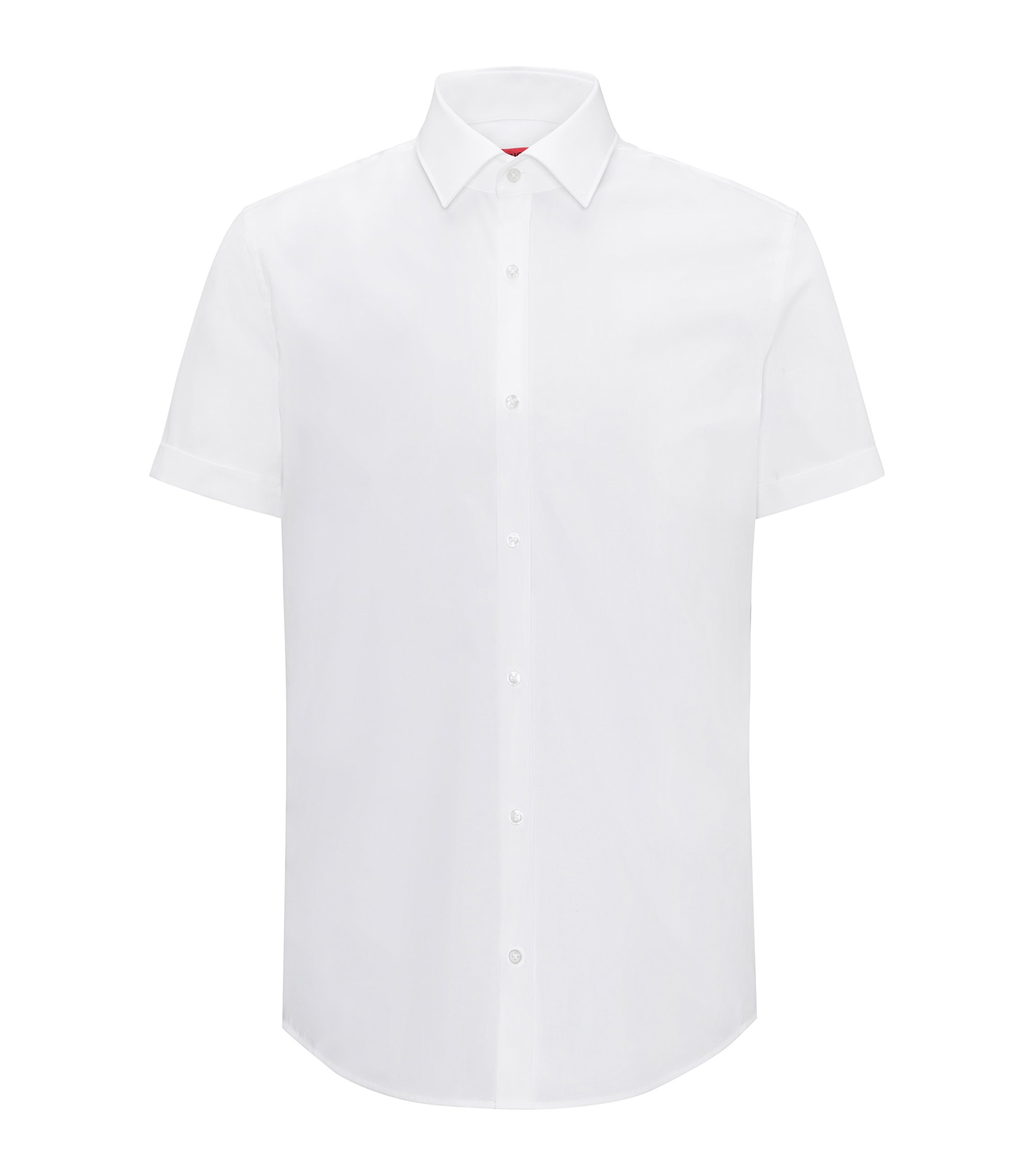 Slim-fit short-sleeved shirt in cotton poplin, Bianco