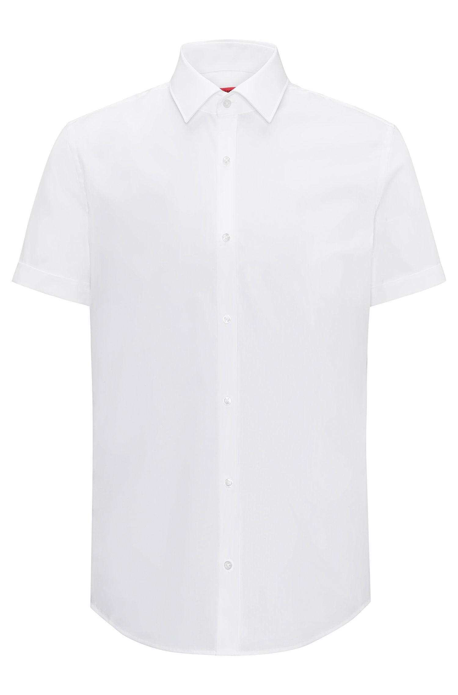 Camicia slim fit a maniche corte in popeline di cotone