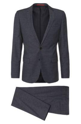 Regular-Fit Anzug aus Schurwoll-Mix mit Baumwollanteil: 'Amaro1/Heise', Dunkelblau