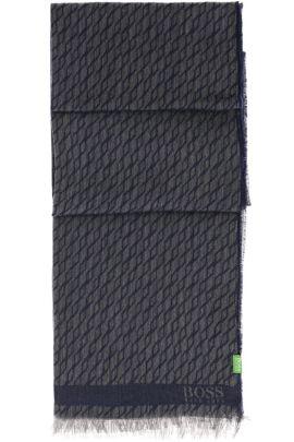 Écharpe à motif en coton mélangé: «C-Fidan», Bleu foncé