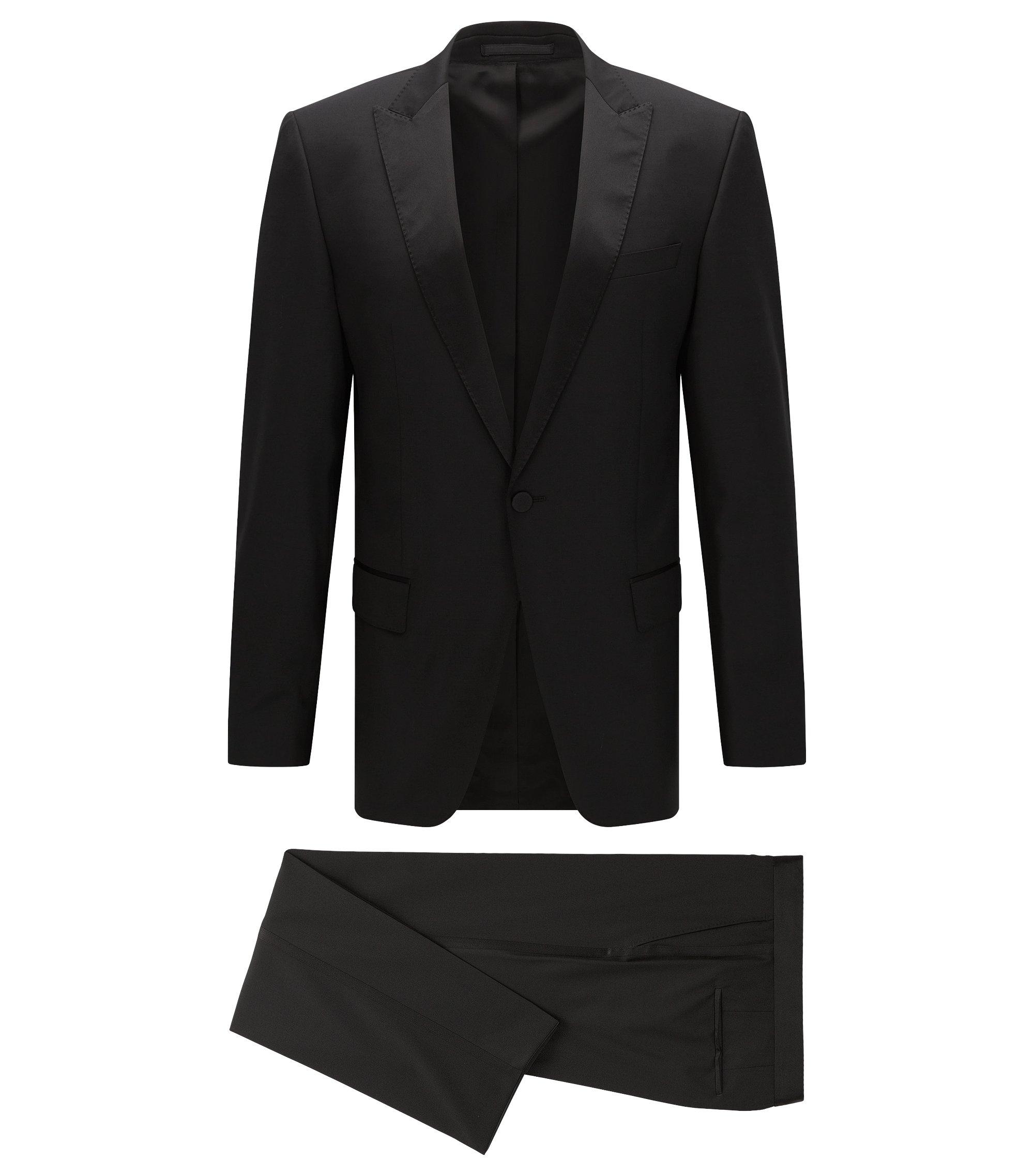 Slim-fit smoking van scheerwol met decoraties van zijde, Zwart