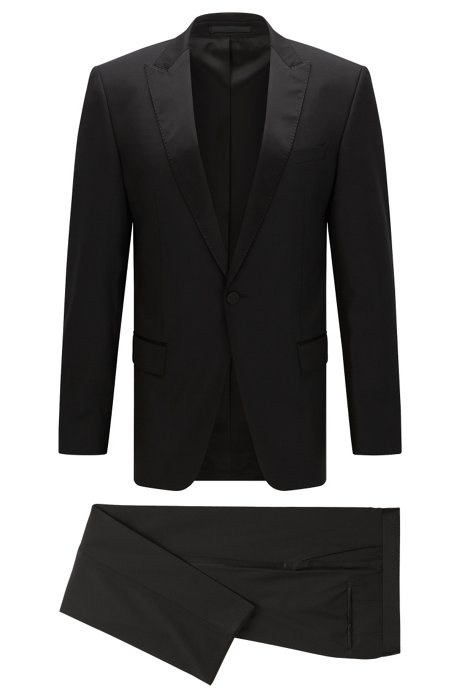 Slim-fit virgin wool tuxedo with silk trims, Black