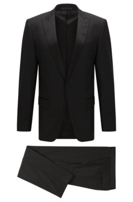 Smoking slim fit in lana vergine con finiture in seta, Nero